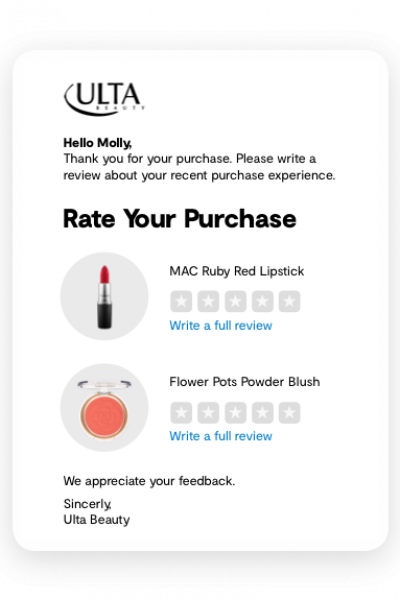 Ulta Post Purchase Email