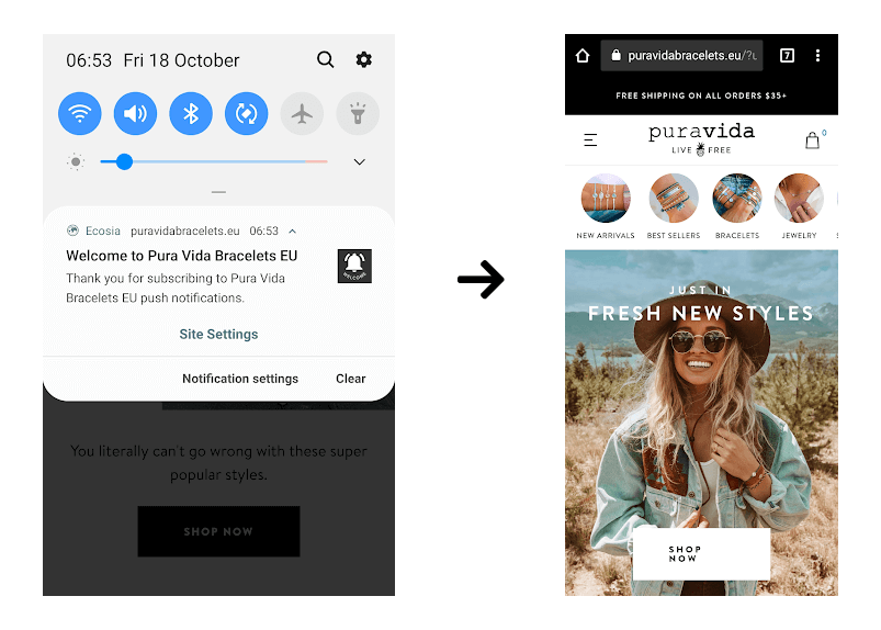 New subscribers receive a welcome push on their mobile or desktop