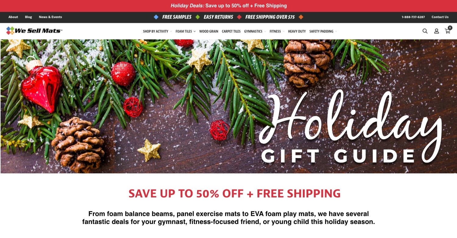 Example of holiday landing page from