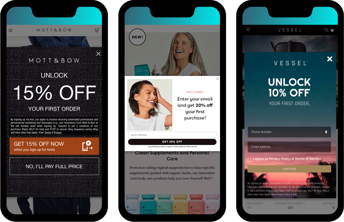 Build your email marketing list with pop-ups to capture user emails: Mott & Bow, Love Wellness, Vessel