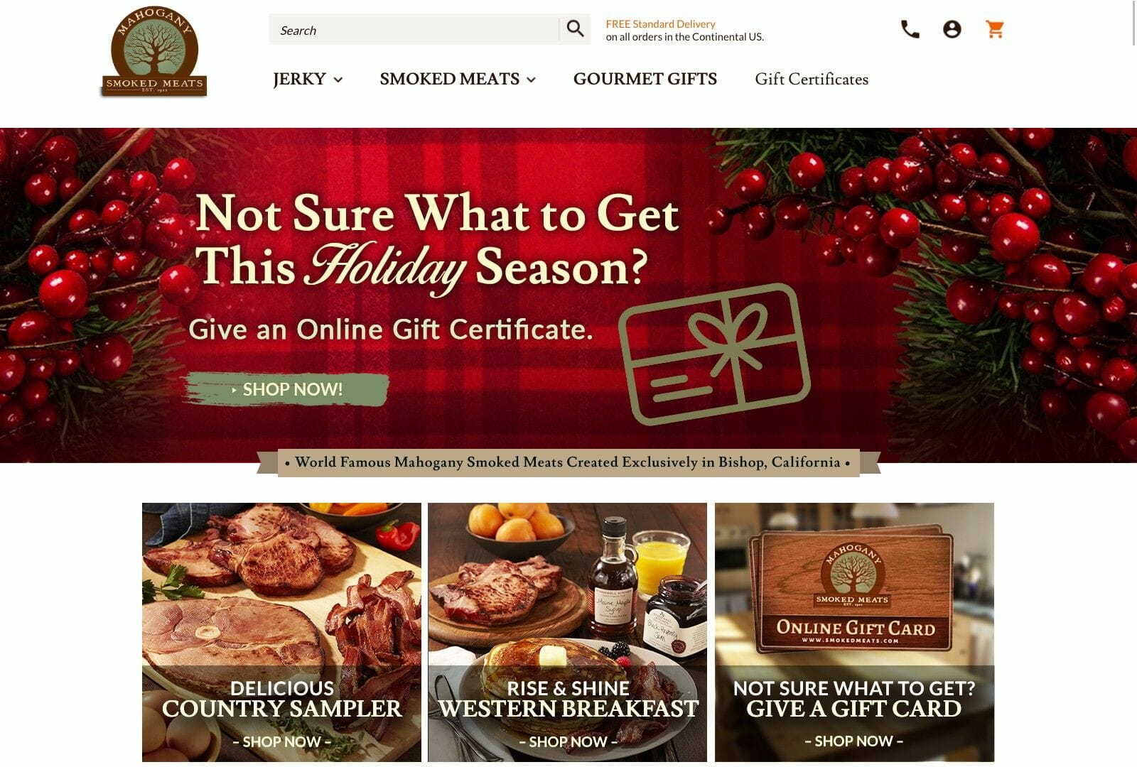 Screen shot of smokedmeats.com home page
