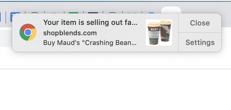Intelligent Blends abandoned cart web push notification first message example