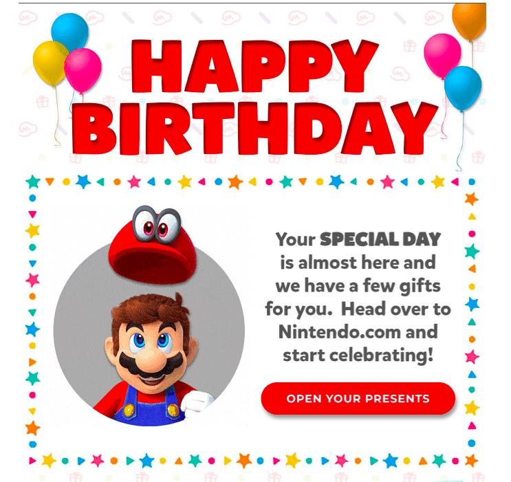 Nintendo Birthday Wish Email