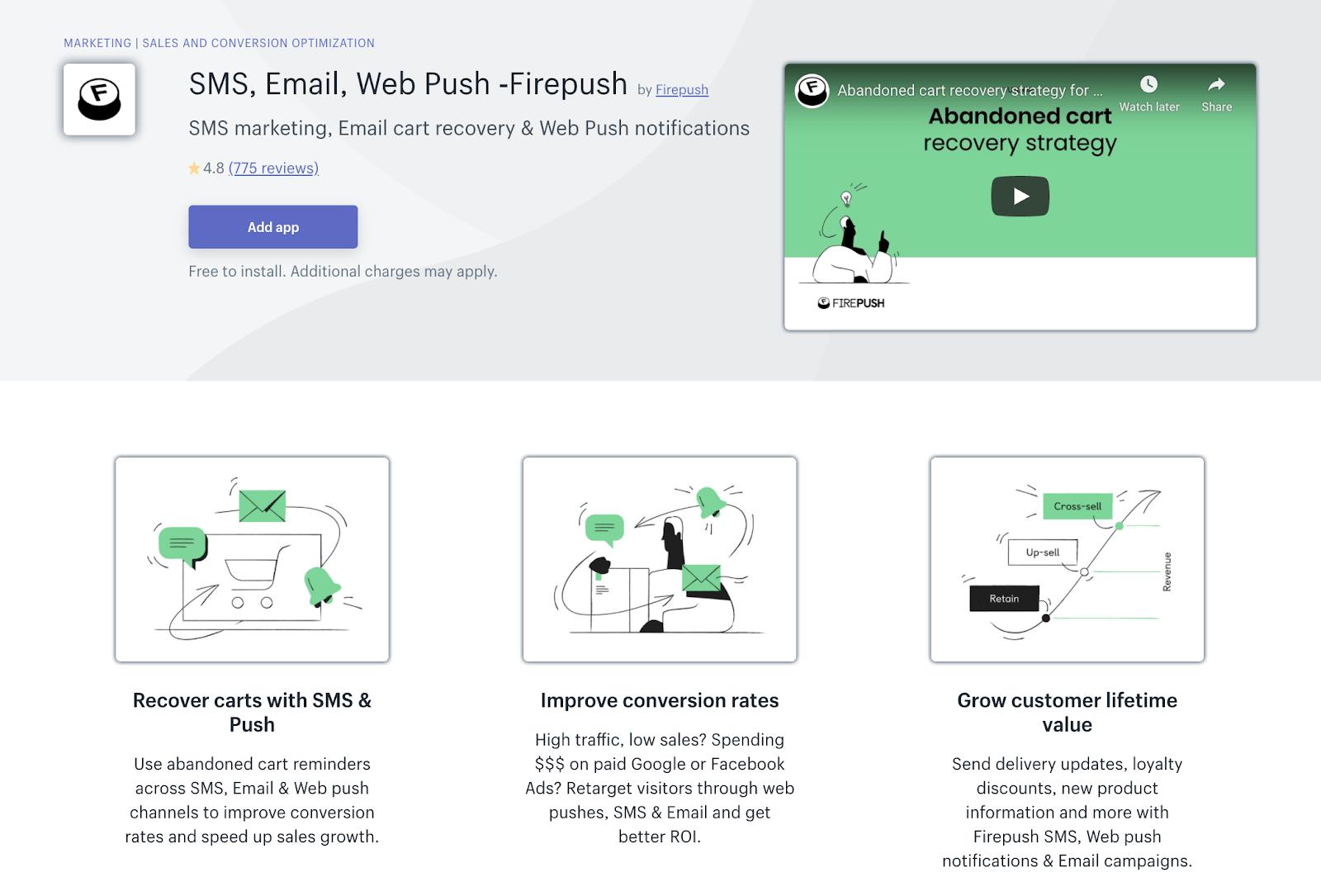 Firepush Shopify application page