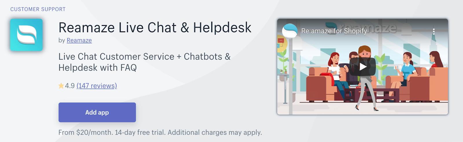 Shopify application - Re:amaze Live Chat & Helpdesk