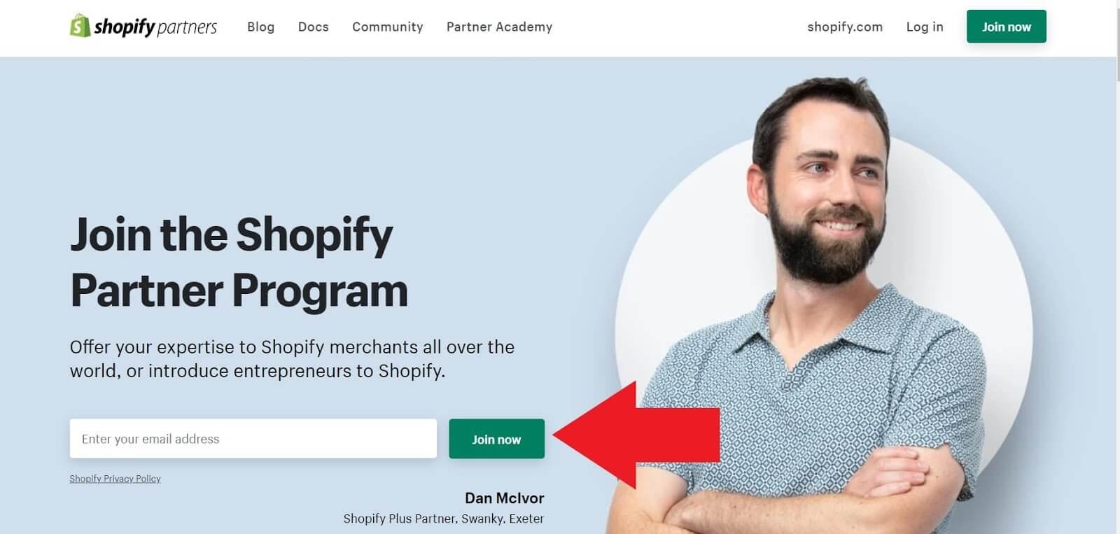 Shopify's Partner Program join up page