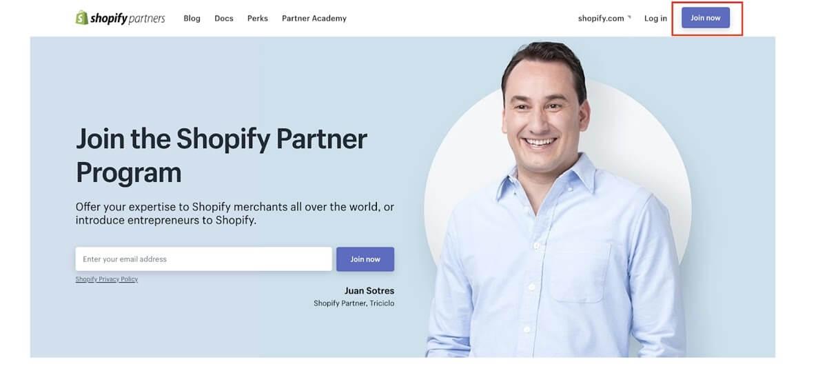 Shopify's Partner Program sign up page