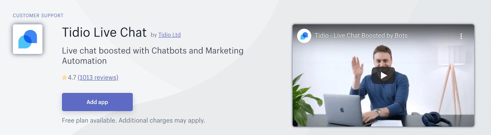 Shopify application - Tidio Live Chat