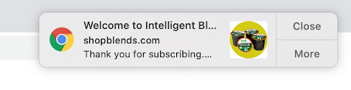 Intelligent Blends welcome push notification example