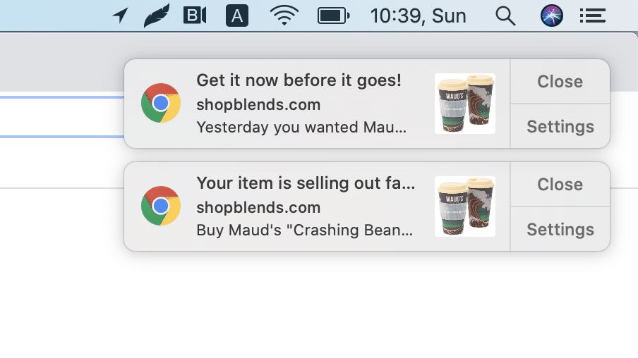 Intelligent Blends abandoned cart web push notification second and third message example