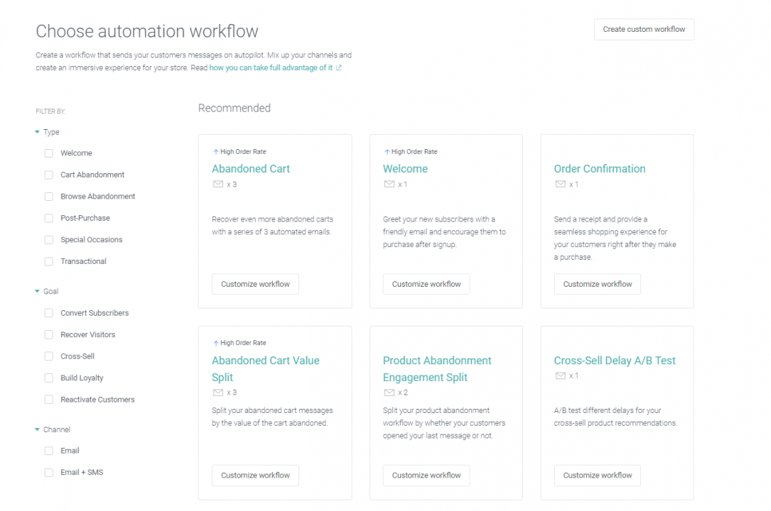 Omnisend automation templates