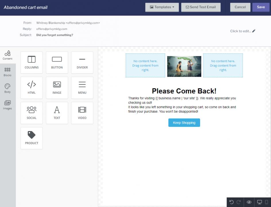 privy email builder